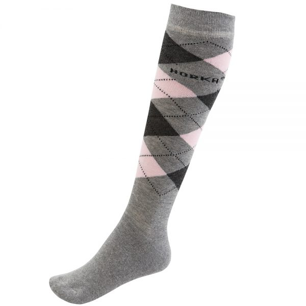 Horka Men's Riding Socks Grey and Pink