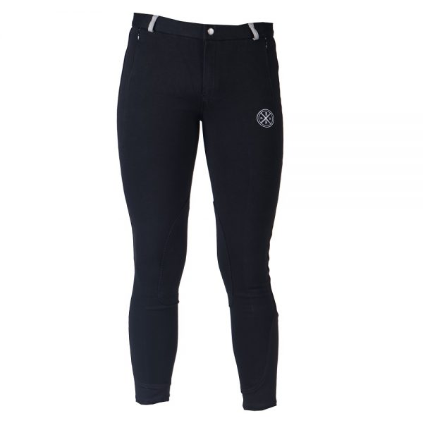 Red Horse Boy's Slim Breeches Black Front